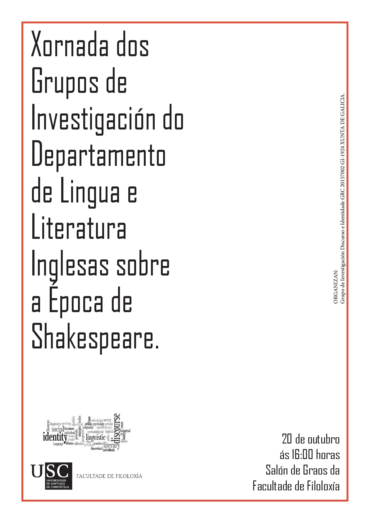 On 20 october the research groups in the department of english and german studies usc host a series of lectures on shakespeare